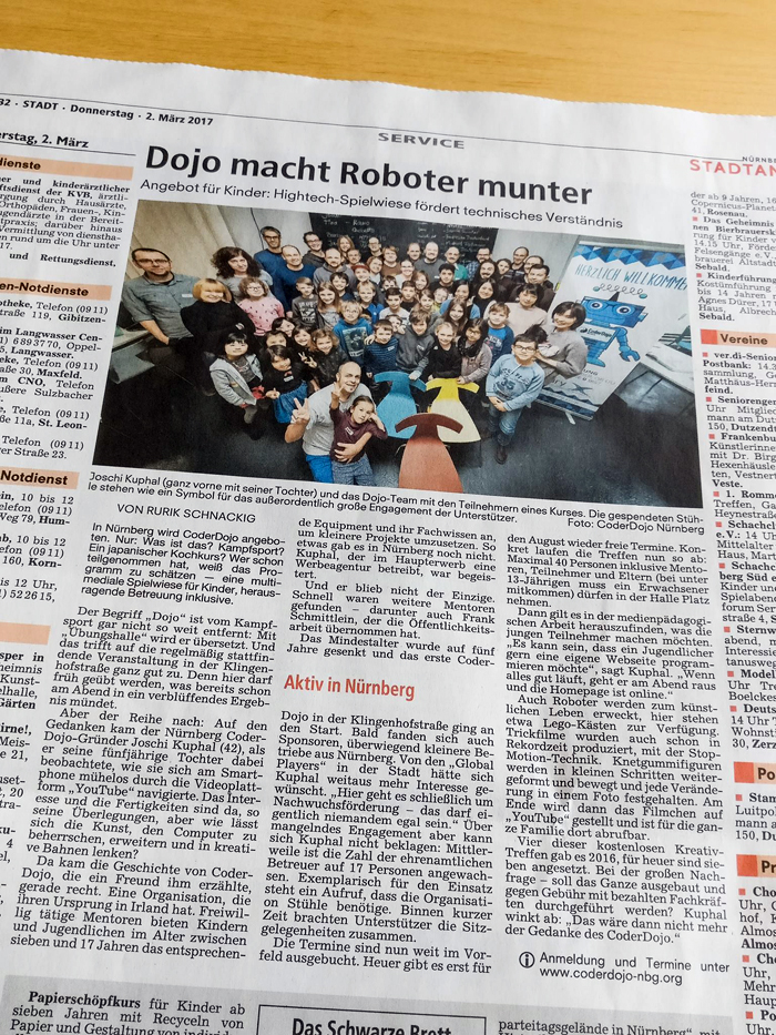 Newspaper article about our CoderDojo Nürnberg