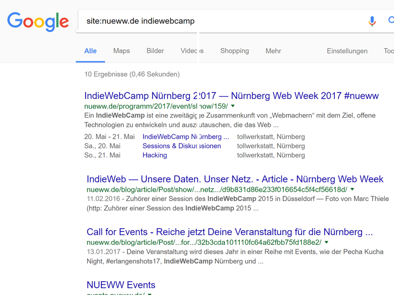 Event and session details showing up in Google's search results due to heavy use of Microformats and HTML Microdata